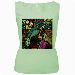 N Pattern Women s Green Tank Top