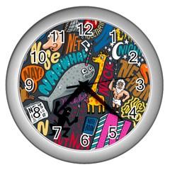 N Pattern Wall Clocks (silver)