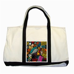 N Pattern Two Tone Tote Bag