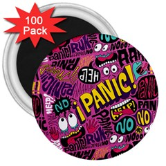 Panic Pattern 3  Magnets (100 Pack) by AnjaniArt