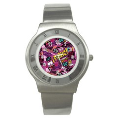 Panic Pattern Stainless Steel Watch by AnjaniArt