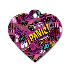 Panic Pattern Dog Tag Heart (two Sides) by AnjaniArt