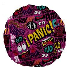 Panic Pattern Large 18  Premium Round Cushions by AnjaniArt