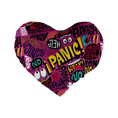 Panic Pattern Standard 16  Premium Heart Shape Cushions by AnjaniArt