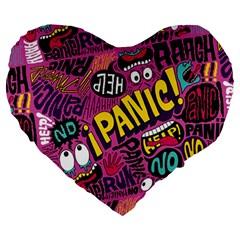 Panic Pattern Large 19  Premium Flano Heart Shape Cushions by AnjaniArt
