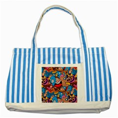 People Face Fun Cartoons Striped Blue Tote Bag by AnjaniArt