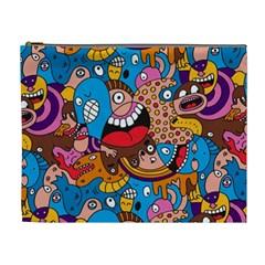 People Face Fun Cartoons Cosmetic Bag (xl) by AnjaniArt