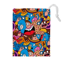 People Face Fun Cartoons Drawstring Pouches (extra Large)