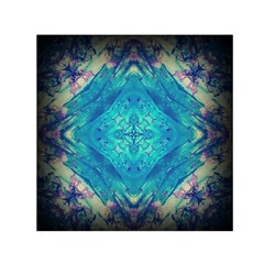 Boho Hippie Tie Dye Retro Seventies Blue Violet Small Satin Scarf (Square) by CrypticFragmentsDesign