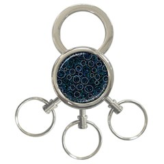 Blue Abstract Decor 3 Ring Key Chains by Valentinaart