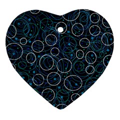 Blue Abstract Decor Heart Ornament (2 Sides) by Valentinaart