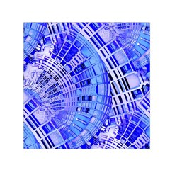 Semi Circles Abstract Geometric Modern Art Blue  Small Satin Scarf (square) by CrypticFragmentsDesign