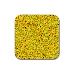Yellow Abstract Art Rubber Coaster (square)  by Valentinaart