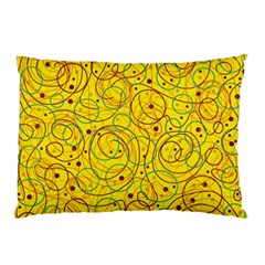 Yellow Abstract Art Pillow Case by Valentinaart