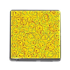 Yellow Abstract Art Memory Card Reader (square) by Valentinaart