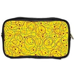Yellow Abstract Art Toiletries Bags by Valentinaart