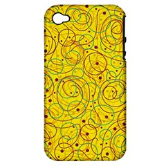 Yellow Abstract Art Apple Iphone 4/4s Hardshell Case (pc+silicone) by Valentinaart