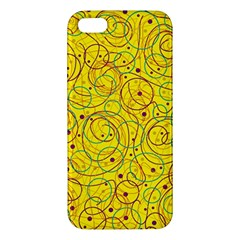 Yellow Abstract Art Apple Iphone 5 Premium Hardshell Case by Valentinaart
