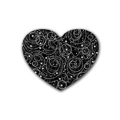 Black And White Magic Rubber Coaster (heart)  by Valentinaart