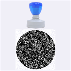 Black And White Magic Rubber Round Stamps (large) by Valentinaart