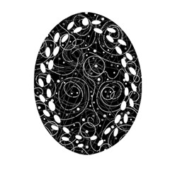 Black And White Magic Oval Filigree Ornament (2 Side)  by Valentinaart