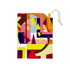 Colorful Abstraction Drawstring Pouches (medium)  by Valentinaart