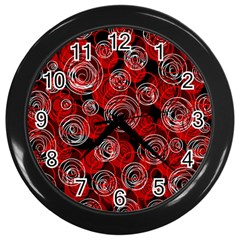 Red Abstract Decor Wall Clocks (black) by Valentinaart