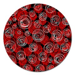 Red Abstract Decor Magnet 5  (round) by Valentinaart
