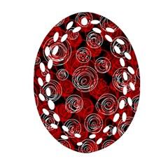 Red abstract decor Oval Filigree Ornament (2-Side)  by Valentinaart