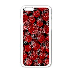 Red Abstract Decor Apple Iphone 6/6s White Enamel Case by Valentinaart