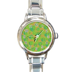 Green Decorative Art Round Italian Charm Watch by Valentinaart
