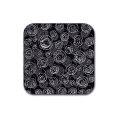 Gray Abstract Art Rubber Coaster (square)  by Valentinaart