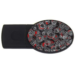 Red And Gray Abstract Art Usb Flash Drive Oval (4 Gb)  by Valentinaart