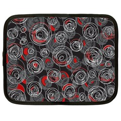 Red And Gray Abstract Art Netbook Case (xxl)  by Valentinaart