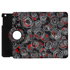 Red And Gray Abstract Art Apple Ipad Mini Flip 360 Case by Valentinaart