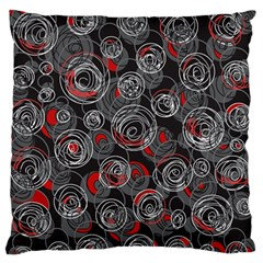 Red and gray abstract art Large Flano Cushion Case (Two Sides) by Valentinaart