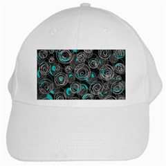 Gray And Blue Abstract Art White Cap
