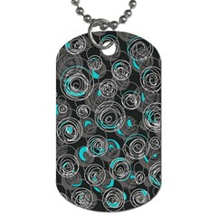 Gray And Blue Abstract Art Dog Tag (two Sides) by Valentinaart