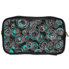 Gray And Blue Abstract Art Toiletries Bags 2 Side by Valentinaart