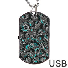 Gray And Blue Abstract Art Dog Tag Usb Flash (two Sides)  by Valentinaart