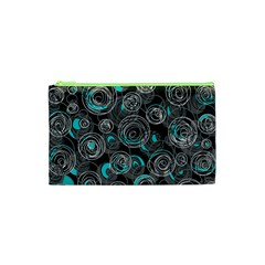 Gray And Blue Abstract Art Cosmetic Bag (xs) by Valentinaart