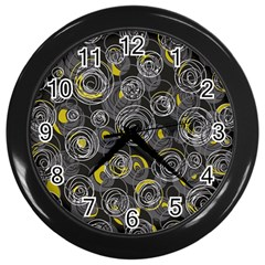 Gray And Yellow Abstract Art Wall Clocks (black) by Valentinaart