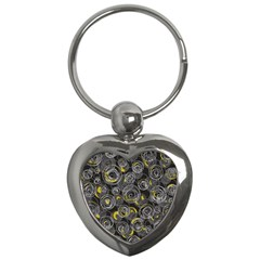 Gray And Yellow Abstract Art Key Chains (heart)  by Valentinaart