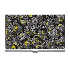Gray And Yellow Abstract Art Business Card Holders by Valentinaart