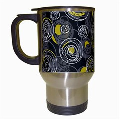 Gray And Yellow Abstract Art Travel Mugs (white) by Valentinaart
