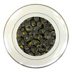 Gray And Yellow Abstract Art Porcelain Plates by Valentinaart