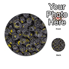 Gray And Yellow Abstract Art Multi Purpose Cards (round)  by Valentinaart