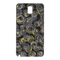 Gray And Yellow Abstract Art Samsung Galaxy Note 3 N9005 Hardshell Back Case by Valentinaart