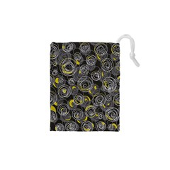 Gray And Yellow Abstract Art Drawstring Pouches (xs)  by Valentinaart
