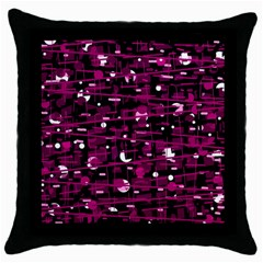 Magenta Abstract Art Throw Pillow Case (black) by Valentinaart